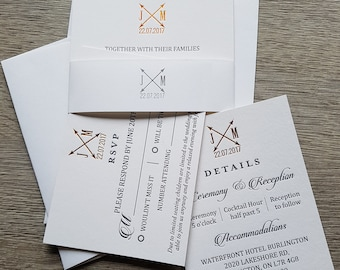 Letterpress and hot foil wedding suite; wedding invitations, RSVP cards, details cards, belly bands; letterpress text and hot foil monogram