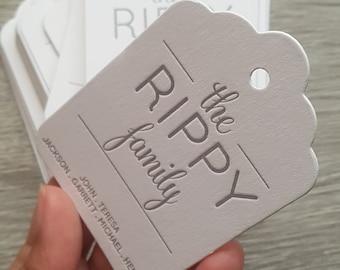 200 Custom letterpress scalloped hang tags, gift hang tags, family hang tags, wedding hang tags, custom ink color, custom design