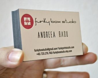 Mid century modern business cards personalized letterpress 200 custom letterpress business cards 2 ink colors edge painting letterpress calling cards various ink colors edge coloring white card reheart Image collections