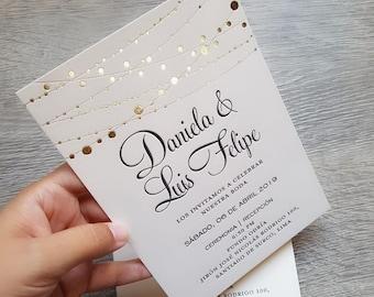 50 Custom letterpress + hot foil wedding invitations, gold foil, rose gold foil, silver foil, copper foil, matching envelopes