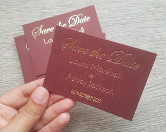 100 Custom small hot foil save the date cards. Gold foil, silver foil, copper foil, rose gold foil wedding cards. Various card stock