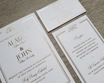 Hot foil wedding suite; hot foil wedding invitations hot foil reception cards hot foil RSVP card Gold foil rose gold silver foil copper foil