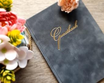 Velvet wedding guest book Gold hot foil personalized Personalized guest book Choose velvet cover color Portrait orientation Gold metal edges
