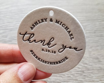 200 Custom letterpress round wedding thank you tags; wedding tags, thank you hang tags, custom ink color, hole punching
