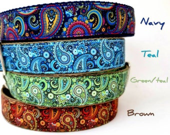 7 different GORGEOUS Paisley dog collar