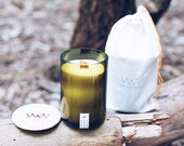 Oakmoss + Amber Recycled Wine Bottle Candle
