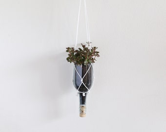 Recycled wine bottle hanging planter - clear glass