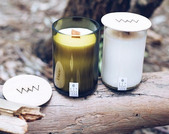 Sandalwood + Vanilla Recycled Wine Bottle Candle