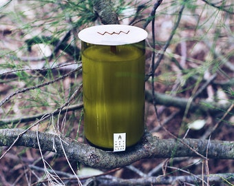 Thyme + Olive Leaf Recycled Wine Bottle Candle