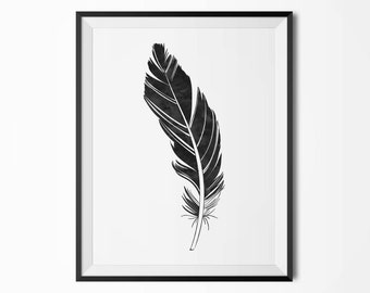 Black watercolor feather poster, Modern poster, Printable poster, Minimal wall decor, Scandinavian poster, Wall decor, Nordic decor