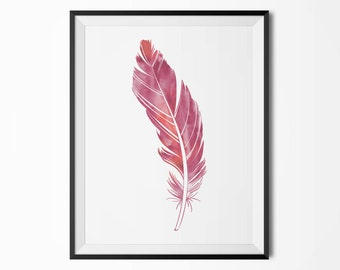 Watercolor feather poster, Modern poster, Printable poster, Minimal wall decor, Scandinavian poster, Wall decor, Nordic decor