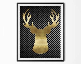 Gold deer head, Polka dots, Gold antlers, Modern poster, Scandinavian poster, Printable deer head, Printable antlers, Black and gold