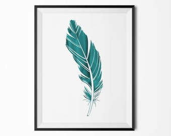 Teal watercolor feather poster, Modern poster, Printable poster, Minimal wall decor, Scandinavian poster, Wall decor, Nordic decor