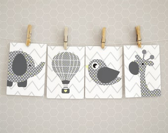 Printable nursery art, Gender neutral, Giraffe nursery print, Balloon print, Animals print, White and grey, Nursery wall art, Nursery decor