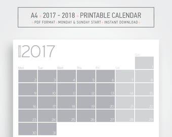 2017 - 2018 Wall calendar, Wall planner, Grayscale calendar, Geometric wall calendar, Digital download, Desk calendar, Desk planner, minimal