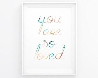 You are so loved - Nursery printable - Minimal nursery - Gender neutral nursery - Soft colors nursery - Twins nursery - Nursery art