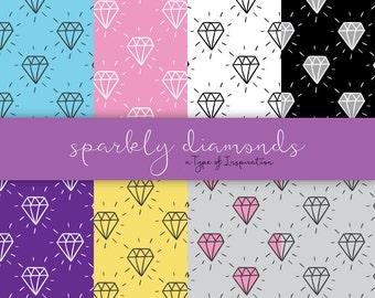 Diamonds digital paper Scrapbook paper Colorful digital paper Scrapbooking paper Instant download Printable paper Digital paper pack