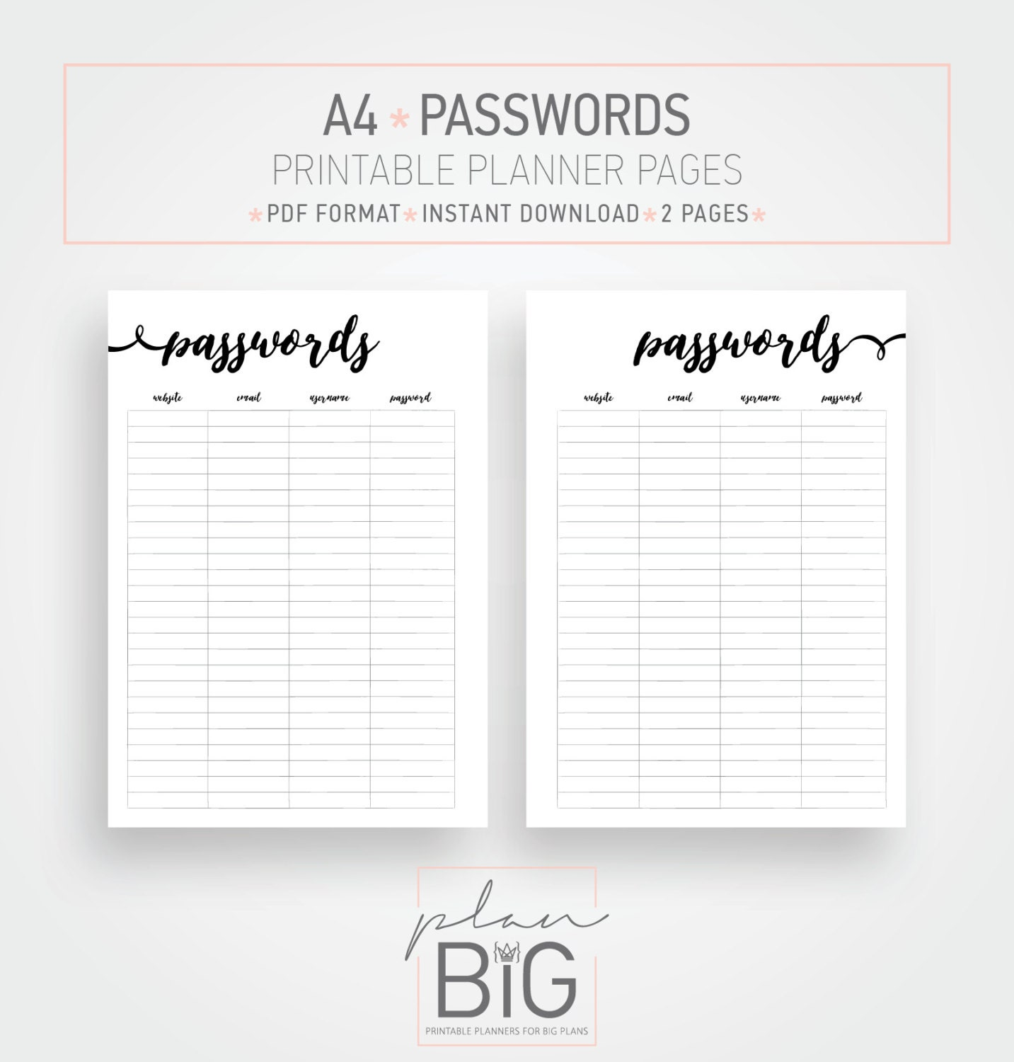 graphic about Password Printable known as Printable planner internet pages, Pword log, Pword keeper, A4 Printable planner, Planner inserts, Pword inserts, Low planner