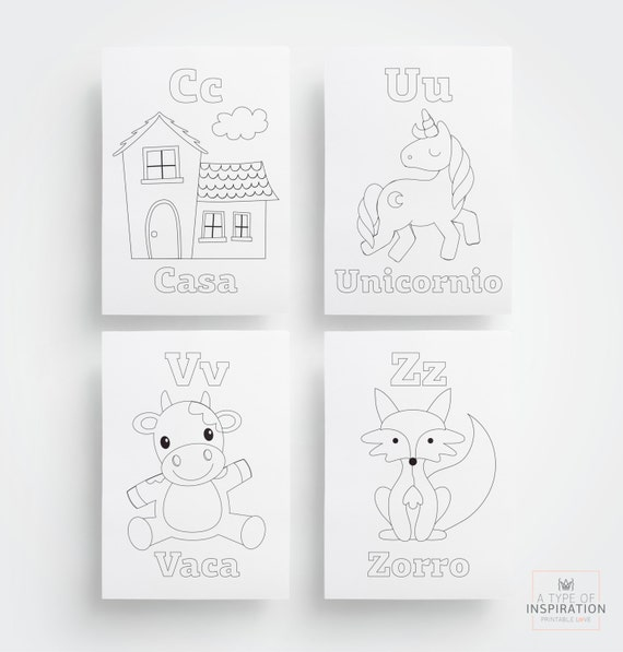 Printable coloring pages - Spanish Alphabet coloring pages - Coloring page - Print and color - Kids coloring - Coloring sheet -