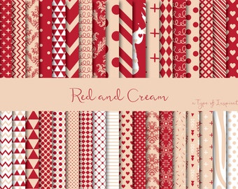 Red and cream digital paper pack, Red digital paper, Scrapbook paper, Printable paper, Instant download, Printable pattern, Scrapbooking