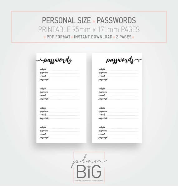 photograph regarding Password Keeper Printable titled Printable planner internet pages, Pword log, Pword keeper, Particular person dimensions planner, Planner inserts, Pword inserts, Person dimension inserts