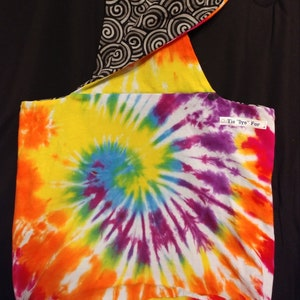 Hobo Tie Dyed REVERSIBLE Colourful Cross-Body Fun Messenger Bag Hippie 2-in-1 Sling Unique