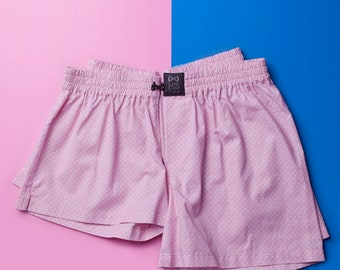 18cb520172 Couple cotton sleeping shorts boxers PINK DOTS his hers