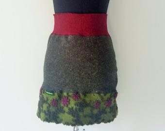 Wool skirt-Walklodenrock green vine