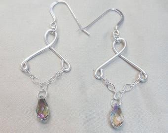 Sterling Silver, Swarofski Crystal Chain Earrings.