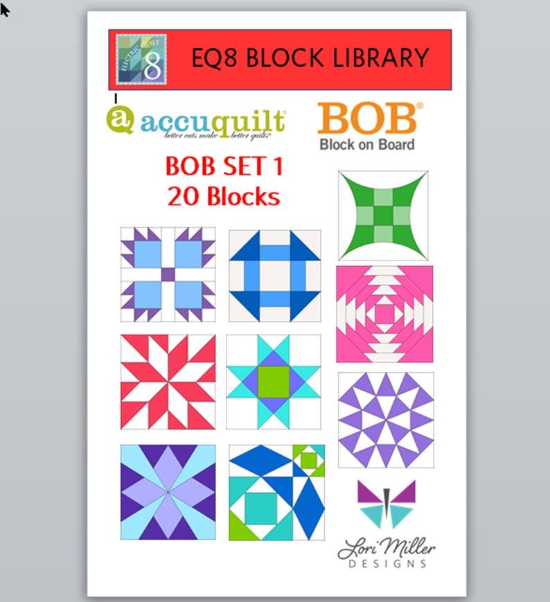 EQ8 Block Library  Accuquilt BOB SET 1  20 blocks image 1