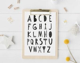 Alphabet ABC Wall Art, Alphabet Poster, Monochrome Nursery Print, Kids Room Decor, Alphabet Nursery Wall Decor, Scandinavian Nursery Decor