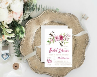 Rustic Bridal Shower Invitation, Tribal Bridal Shower Invites, Floral Bridal Shower Invitation, Boho Bridal Shower Invitation,