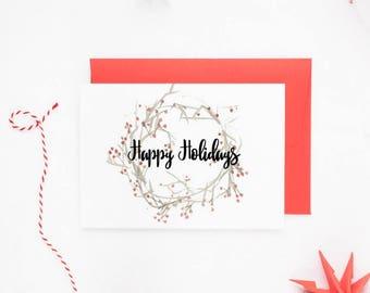 Christmas Card Boxed Set, Rustic Christmas Card Pack, Christmas Card Set, Happy Holidays Greeting Card, Christmas Wreath Card, Set of 10