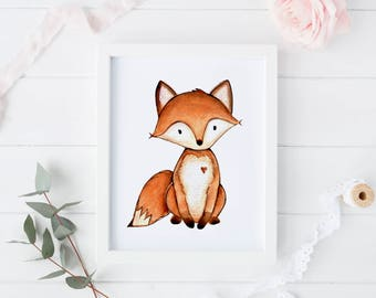 Woodland Nursery Decor Wall Art Printables Fox Animal Prints For Kids Print