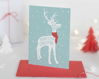 Reindeer Christmas Card, Christmas Card Box Set, Rustic Christmas Card Pack, Holiday Greeting Cards, Boxed Christmas Cards Set of 10 or 20