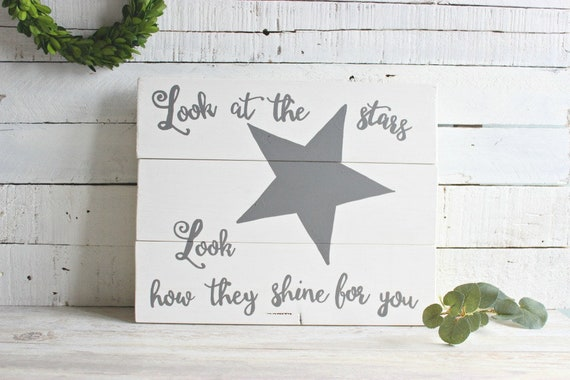 Rustic Nursery Decor Look At The Stars Wooden Sign Star