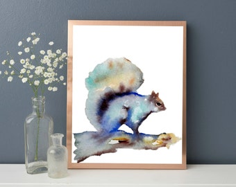 Woodland creatures, Squirrel Art Print, Country Home Decor, Watercolor Print, Woodland Theme Decor, Woodland Animal Nursery, Woodland Art