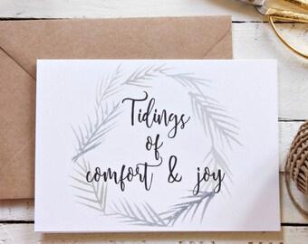 Joyful Tidings, Holiday Card Set, Rustic Christmas Card Pack, Christmas Card Set, Christmas Greeting Card, Christmas Wreath Card, Set of 10