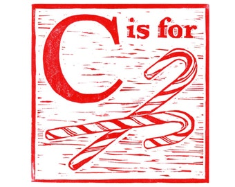 C is for Candy Canes, a Christmas alphabet linocut - Archival digital print of my hand-pulled print