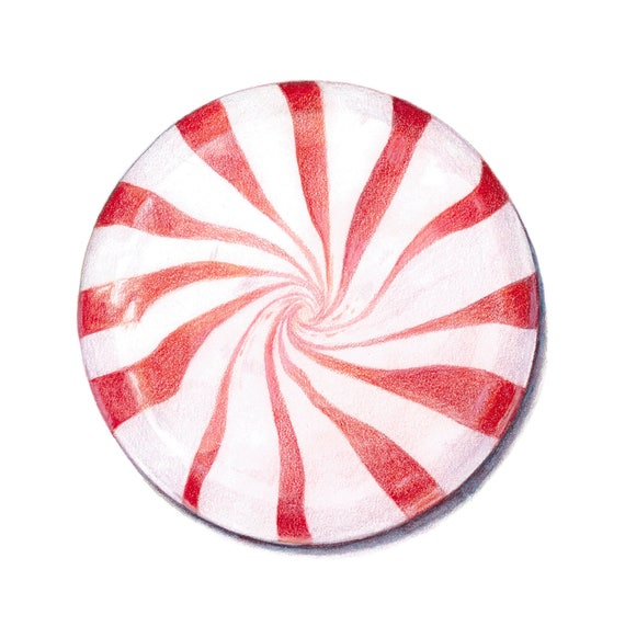 Peppermint art print  Christmas art  Candy Art  Archival print of my colored pencil drawing