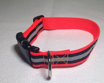 """Reflective Collar, Orange Black Reflective, 1 inch wide and adjustable 12"""" to 17"""""""