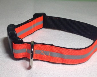 """Reflective Collar, Black Orange Reflective, 1 inch wide and adjustable 12"""" to 18"""""""