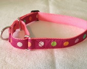 Beautiful Jacquard Ribbon Martingale Collar, Pink Stripes and Dots, 1 inch wide and adjustable 16 quot to 22 quot