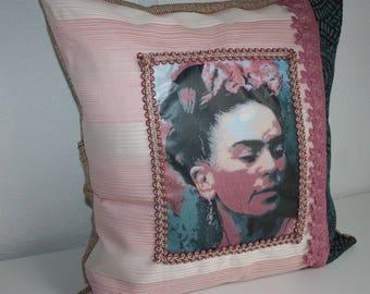 Frida Kahlo Frida Kahlo pillow Frida Kahlo Art pillow Frida Kahlo cushion Frida Kahlo cushion Mexico style Frida Kahlo style pink turquoise