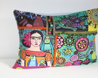 Frida Kahlo naive art pillows pillow art Frida Pillow Frida Kahlo home gift for women cuddly pillow Frida Kahlo art Pillow Mexican Art