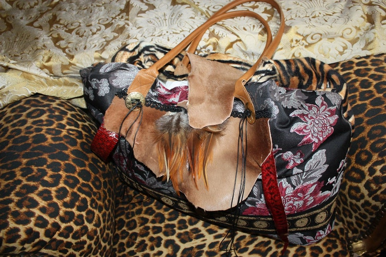 50ad2db8a3993 Tasche Brokat Braun Rot Leo Ethno It-Bag Tasche Shopper
