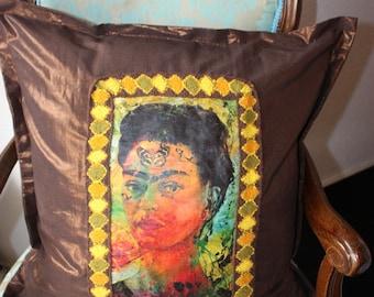 Frida Kahlo Parade Pillow Frida Pillow Pillow cushion frida Kahlo Pillow cover copper ethnic Mexico ethno brass brown style Frida Kahlo