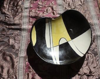 Vintage Bowl Stylish 50s Bowl Ceramic from the 50s 60s Vintage Bowl Black Yellow Beige Ceramic Bowl Vintage Ceramic