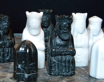 Chess figures in handmade marble