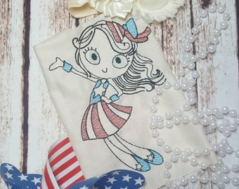 Patriotic girl shirt - July - summer